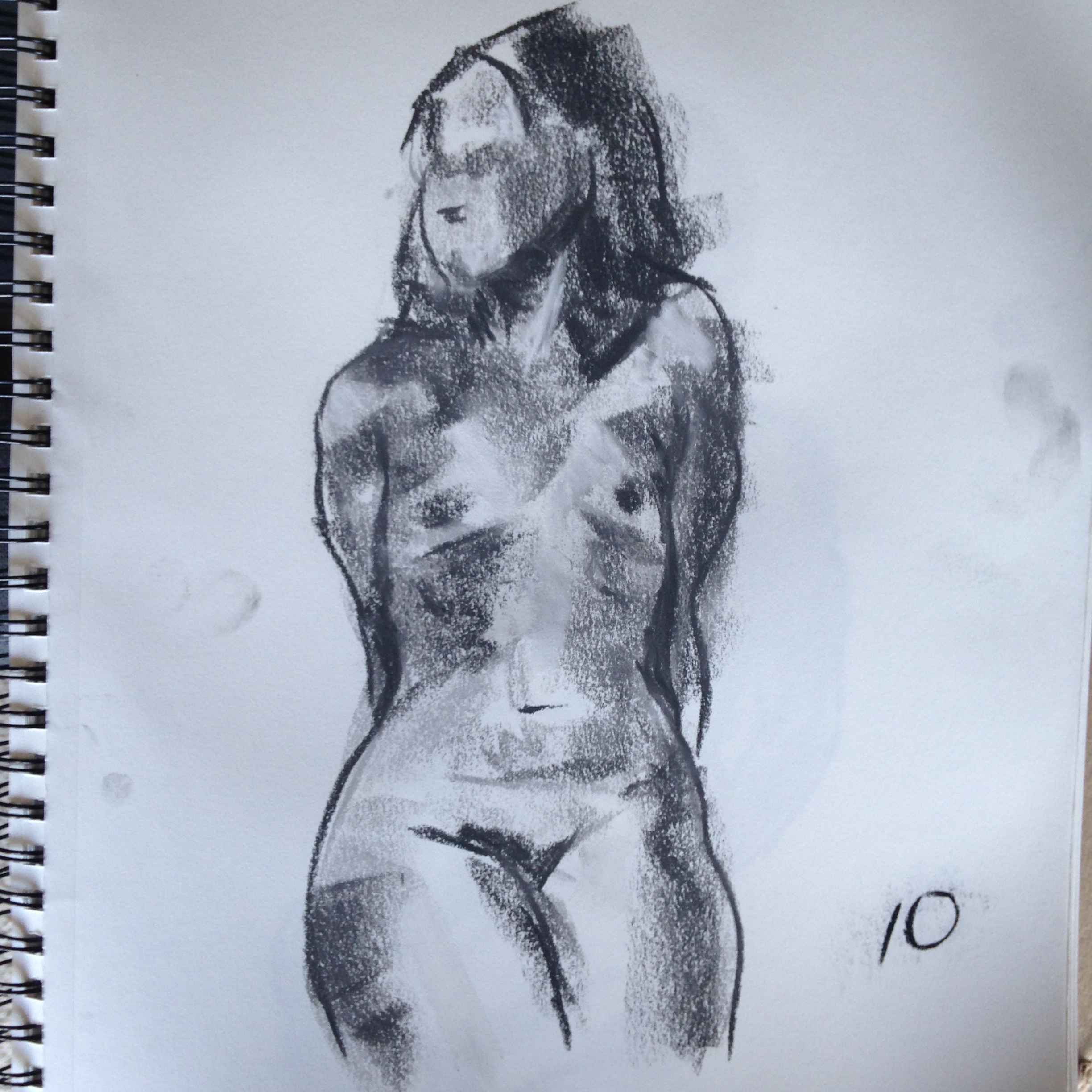 Life Drawing - Pastel on 11x15 sketchbook paper