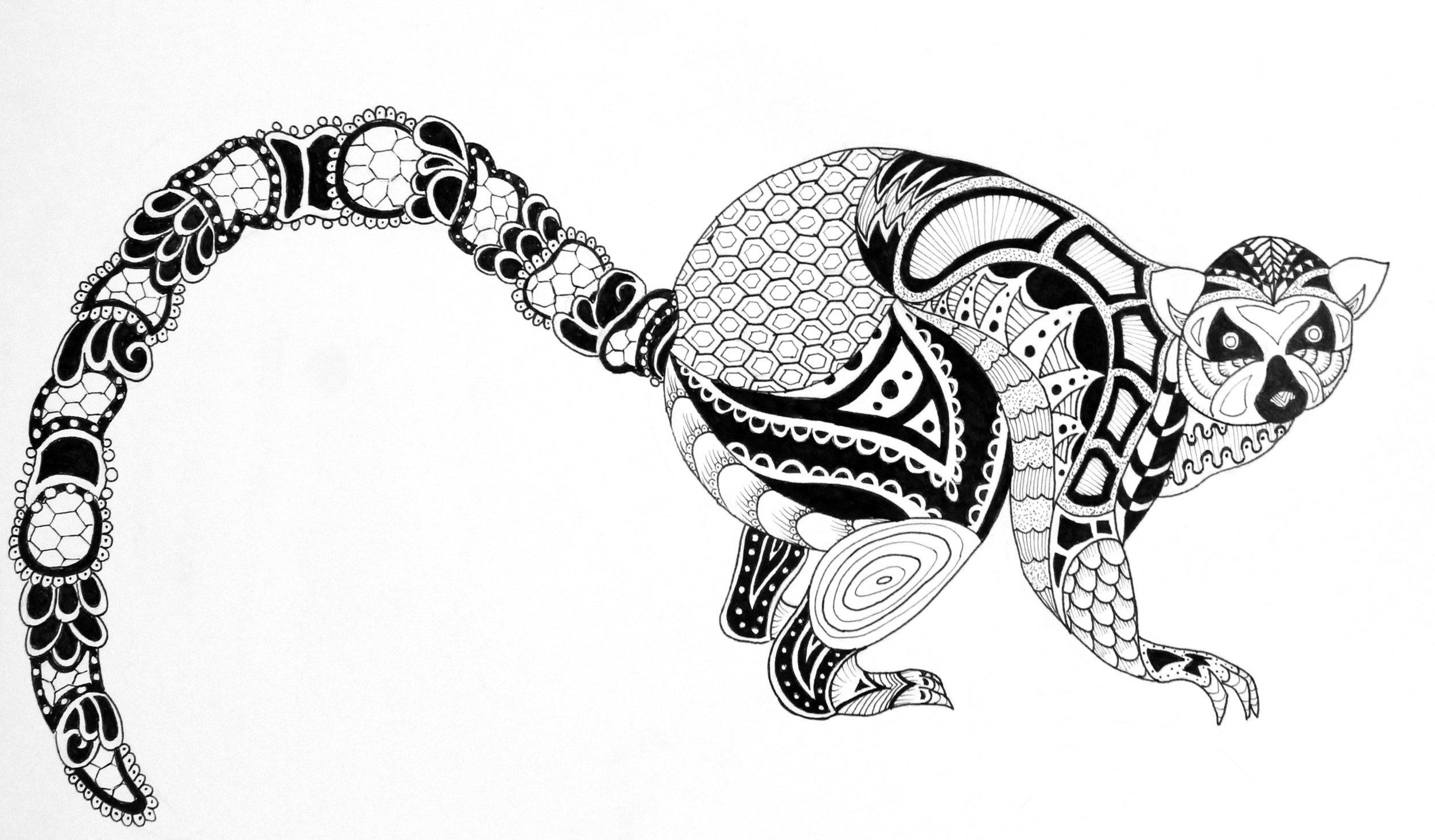 Zentangle Animal Series - Lemur (marker on 9x12 paper)