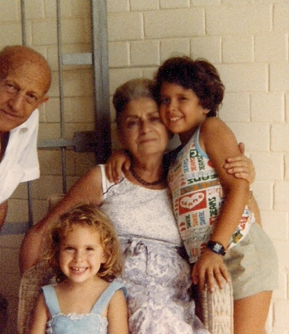 Yaacov & Betty Abramov with Anat (4) and brother Ira (9) on the porch of their house in Haifa, 1982.