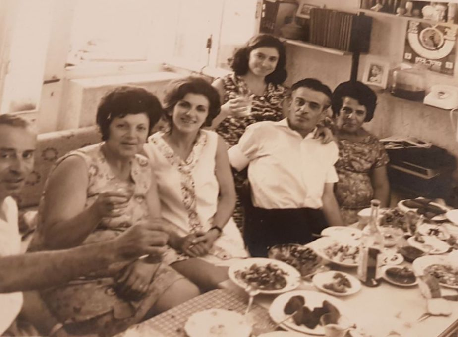 From Left to Right: Yaakov, Rashel, cousin Flora, aunt Sylia, uncle Edward, and his wife Zakieh in Israel in the early 1970's
