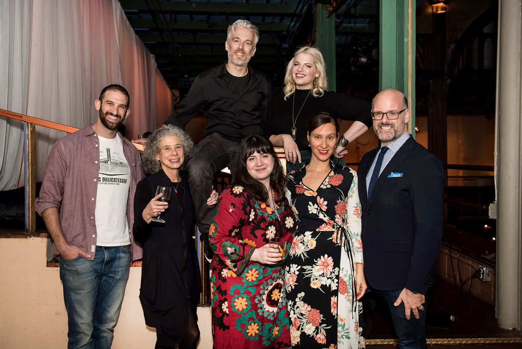 Storytellers (from left to right): Jake Dell, Darra Goldstein, Lior Lev Sercarz, Zoe Kanan, Jordana Rothman, with Naama Shefi, Executive Director of the Jewish Food Society and our host for the evening Mitchell Davis. Photo by Liz Clayman.