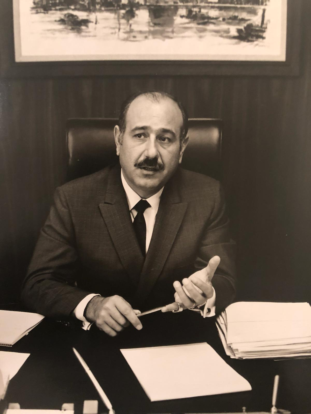 Gabriel's grandfather, Georges Abitboul, at his desk in Los Angeles in 1970.