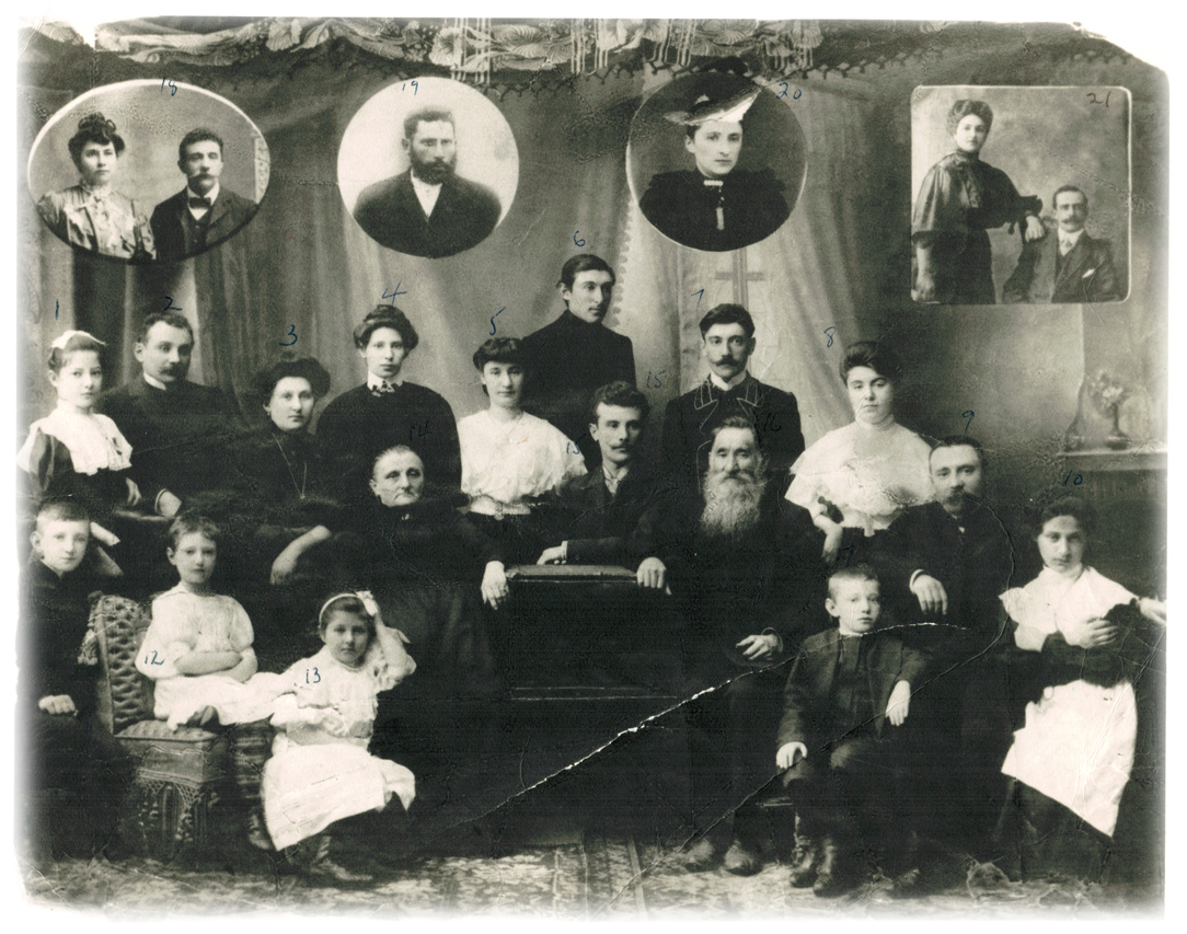Marcy's grandmother, Iliena is in the small upper right inset photo, with her grandfather, Moiscia (Moses) whom she never met but is named after.