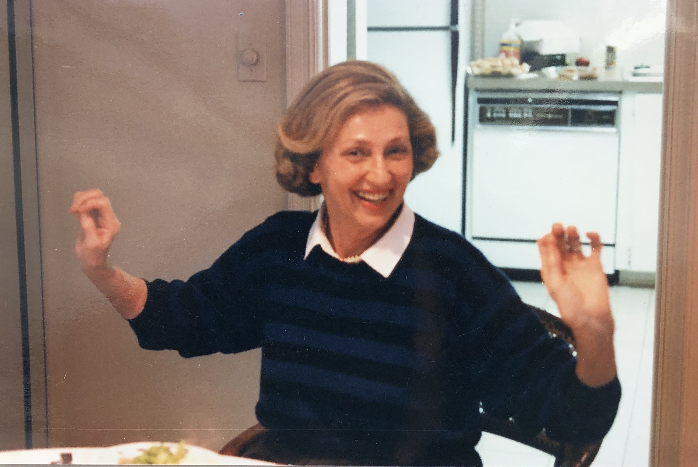 Ruth in the 90's at her kitchen table in Palm Beach, Florida.