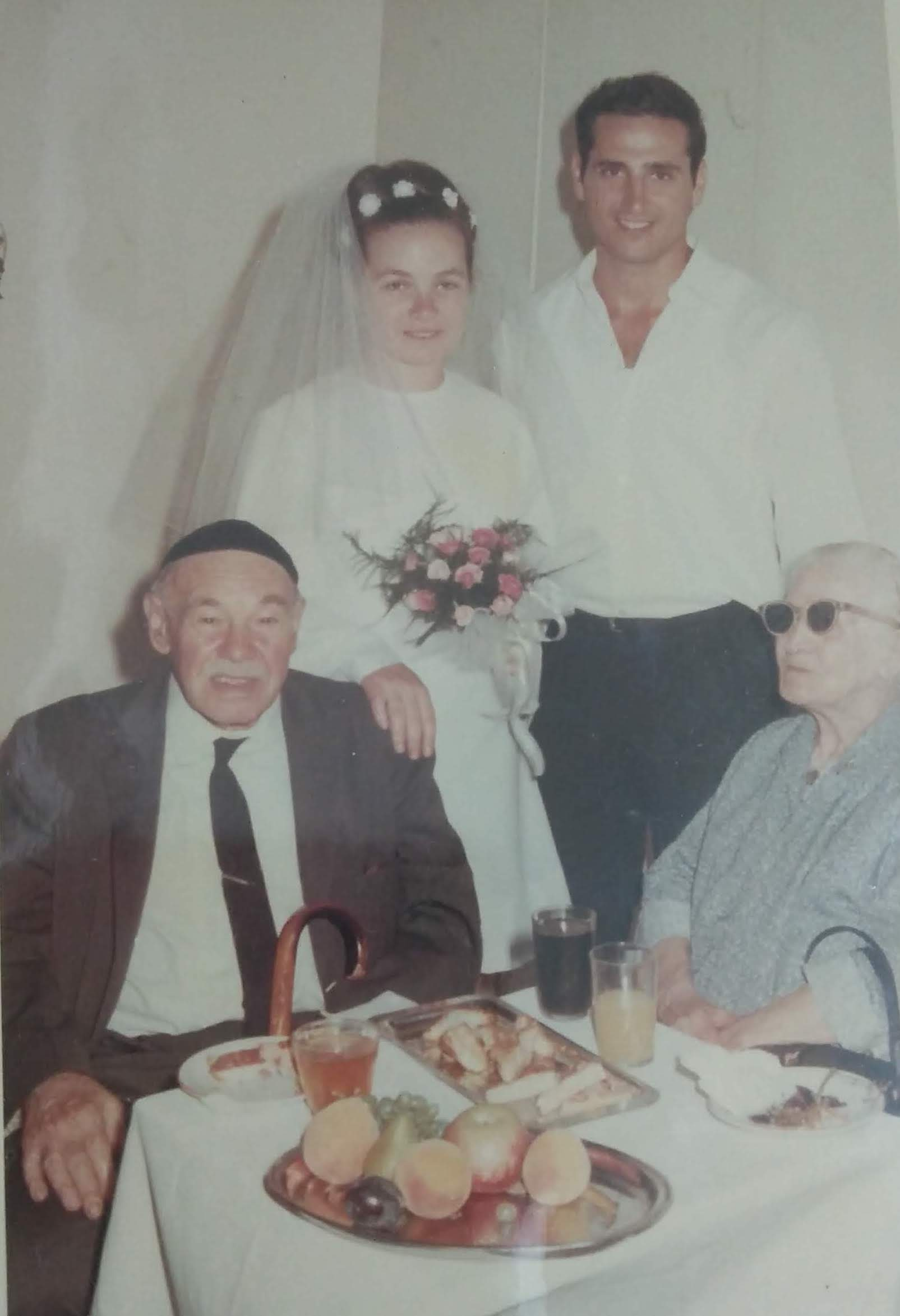 Karni and David at their wedding with Ya'akov and Leah, 1969.