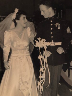 Lindsay's grandparents on their wedding day in 1942.