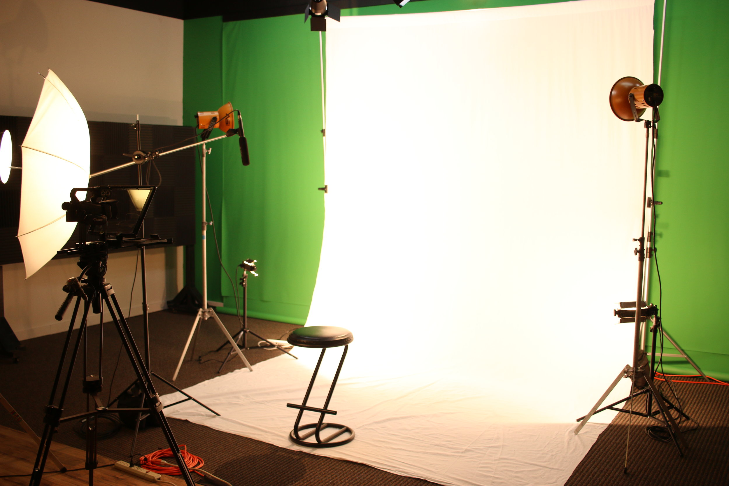 The white screen is set-up for a professional interview or product/service description.