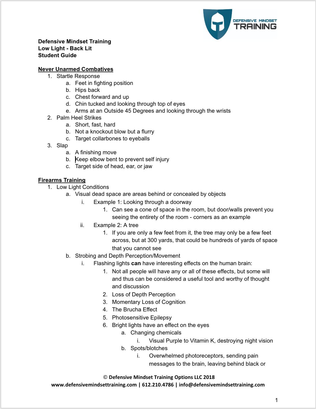 Low Light - Back Lit - Student Guide p 1