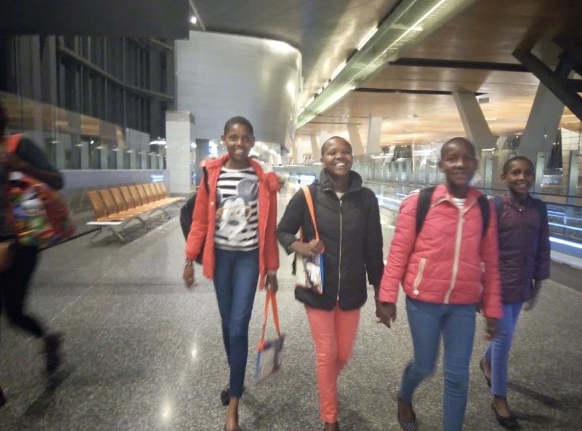 The girls take the airport by storm