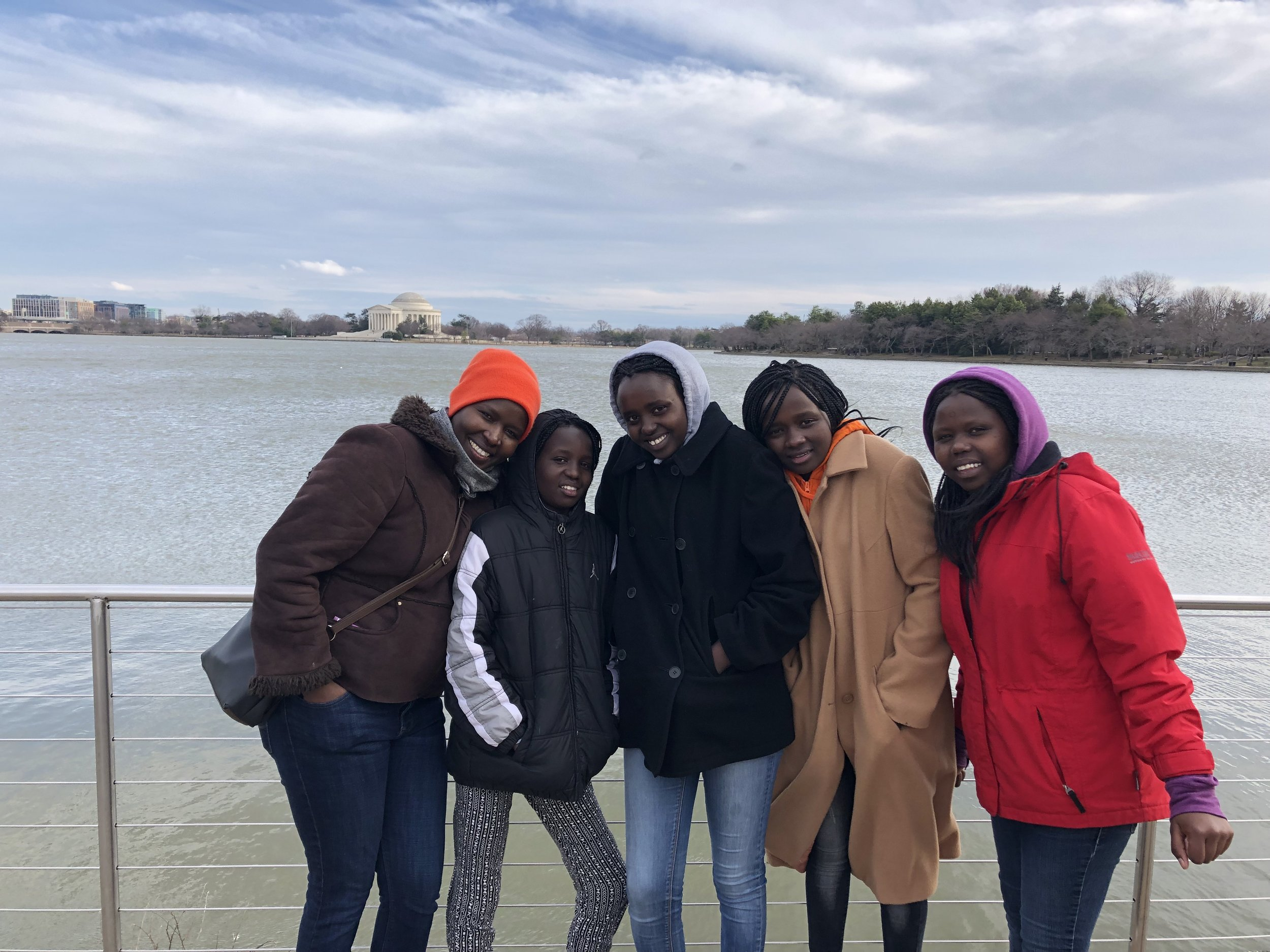 Kakenya and the girls brave the windy winter weather to explore the National Mall