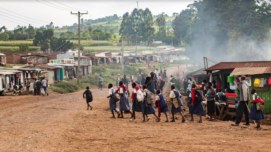 Students on their way to school in rural Kenya