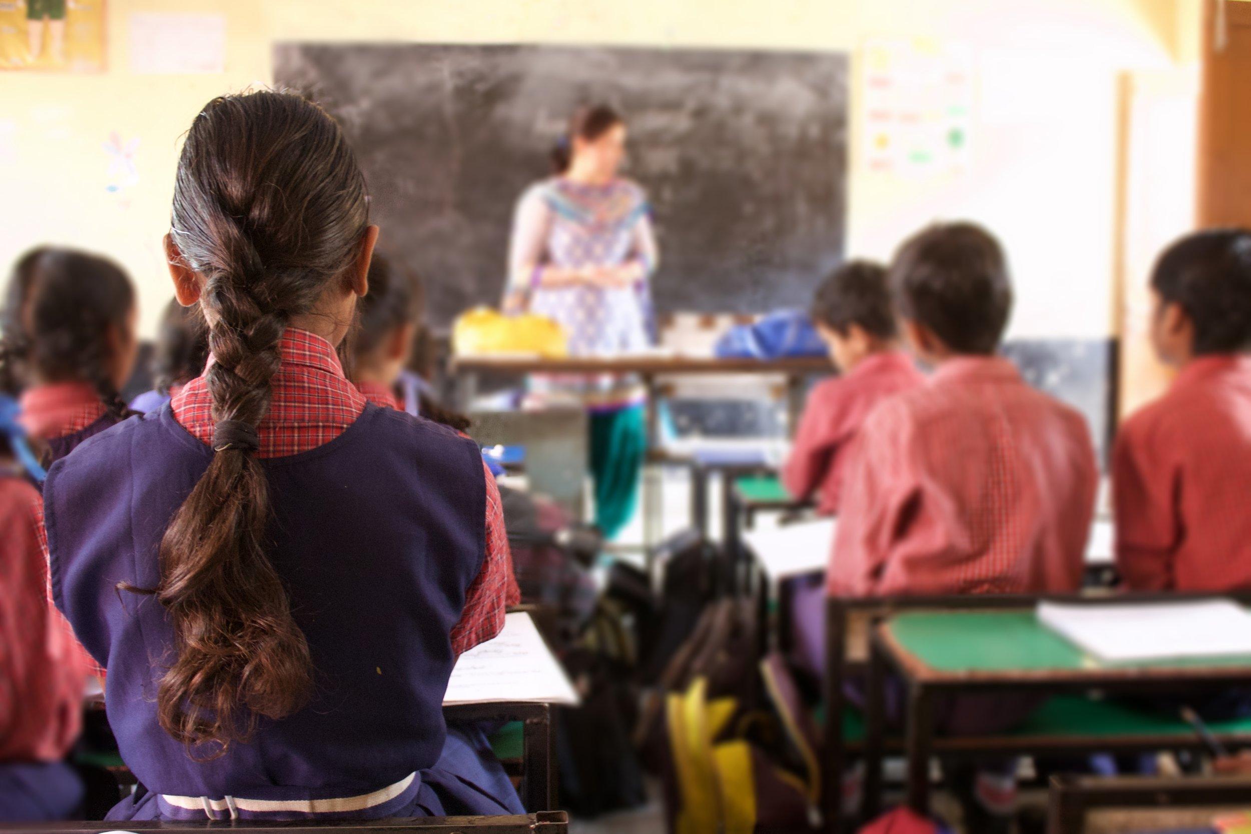 Government school classroom in Haryana.