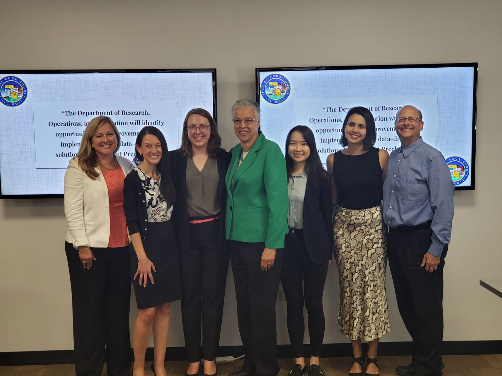 Applied Data Fellows present their project outcomes to Cook County President Toni Preckwinkle