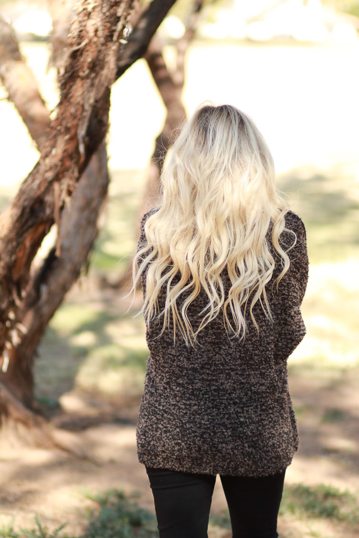 Live Love Blank Quay Starbucks Free People Brown Cozy Sweater and Paige Premium Denim Maternity Black Ripped Jeans Mermaid Icy Blonde Hair