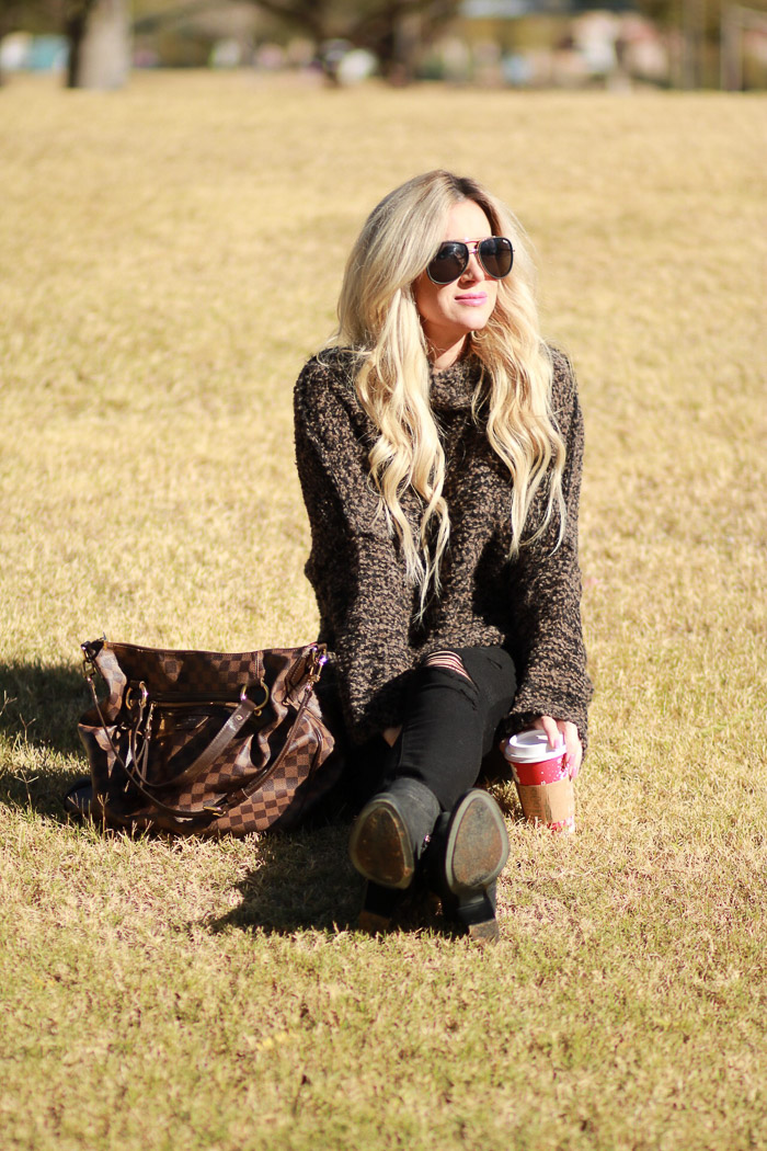 Live Love Blank Quay Starbucks Free People Brown Cozy Sweater and Paige Premium Denim Maternity Black Ripped Jeans