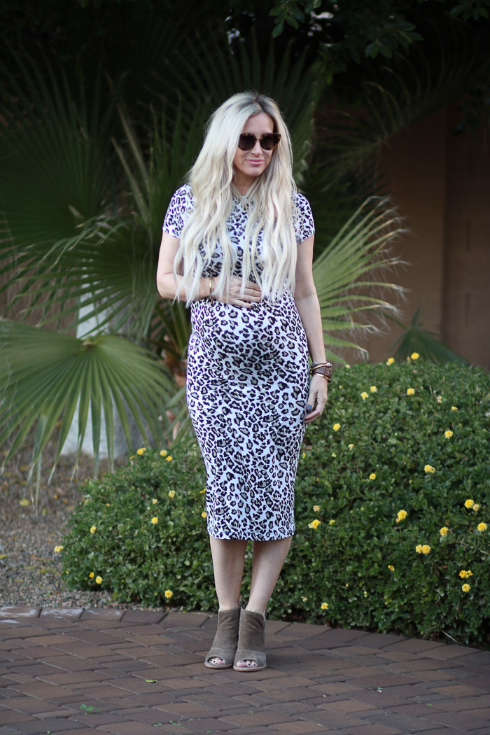 Live Love Blank Blog www.liveloveblank.com ASOS Maternity 7 months pregnant leopard print sheath easy to wear pregnancy maternity Stretch dress Styled with Green Military Anorak Nordstrom Sonix Sunglasses tortoise Vince Camuto Booties Louis Vuitton Monogram Bag, Love a Good Leopard Print