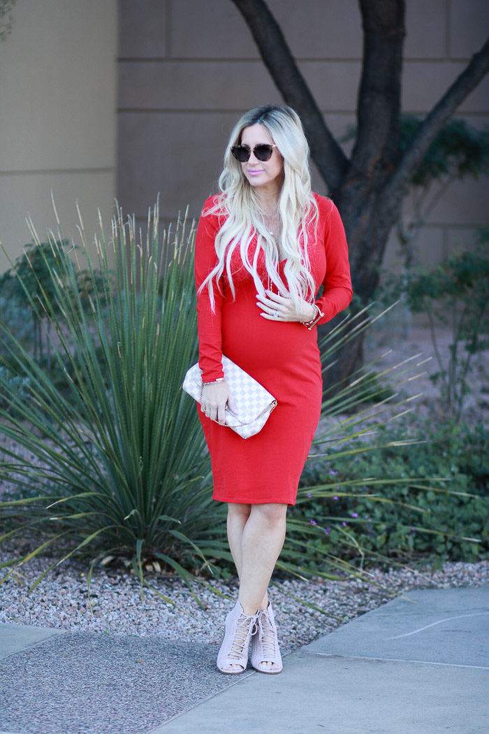 Live Love Blank Red Dress is Always a Good Idea, 33 weeks pregnant non maternity dress pregnancy style, midi form fitted dress express clothing, long sleeve v neck blush laceup heels, louis vuitton favorite bag maternity style cute pregnancy clothes www.liveloveblank.com
