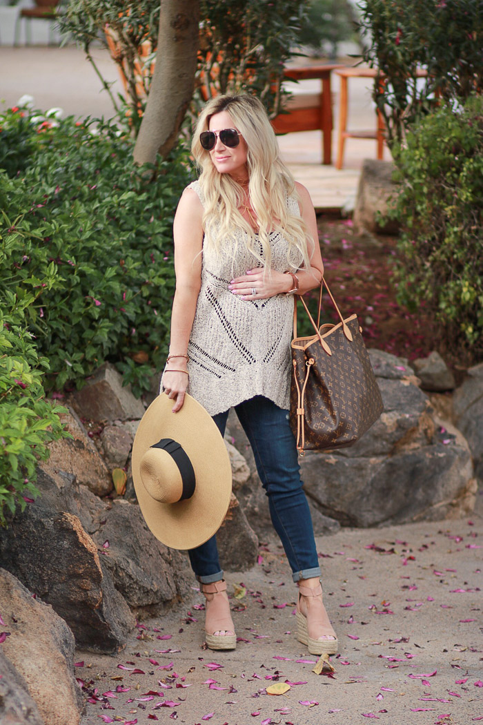 Live love blank www.liveloveblank.com The Scott Resort and & Spa Nordstrom Marc Fisher Annie Wedge Sandal, crochet tunic beach wear cover up ag maternity jeans quay sunglasses louis vuitton neverfull wide brim hat