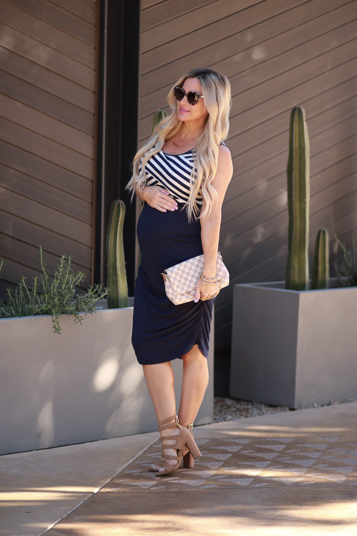 Live Love Blank www.liveloveblank.com Kimi and Kai Maternity Blue White Stripe Fitted Nautical Dress, Sonix Sunglasses Nordstrom, Sam Edelman Yasmina Gladiator Sandal Louis Vuitton Favorite clutch 33 weeks pregnant Pregnancy Style Cute Maternity Dress