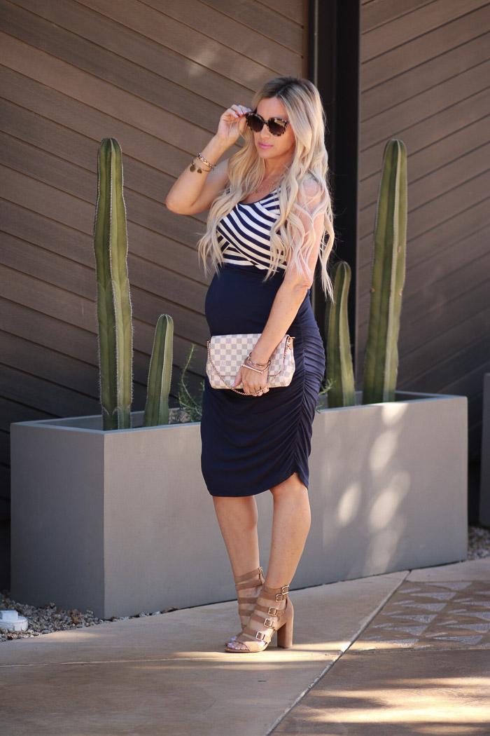 Live Love Blank Maternity Clothing with Kimi + Kai Kimi and Kai Navy Blue White Stripe Nautical Dress Gladiator Chunky Heels, Pregnancy style, maternity style, third trimester dressing for pregnancy style