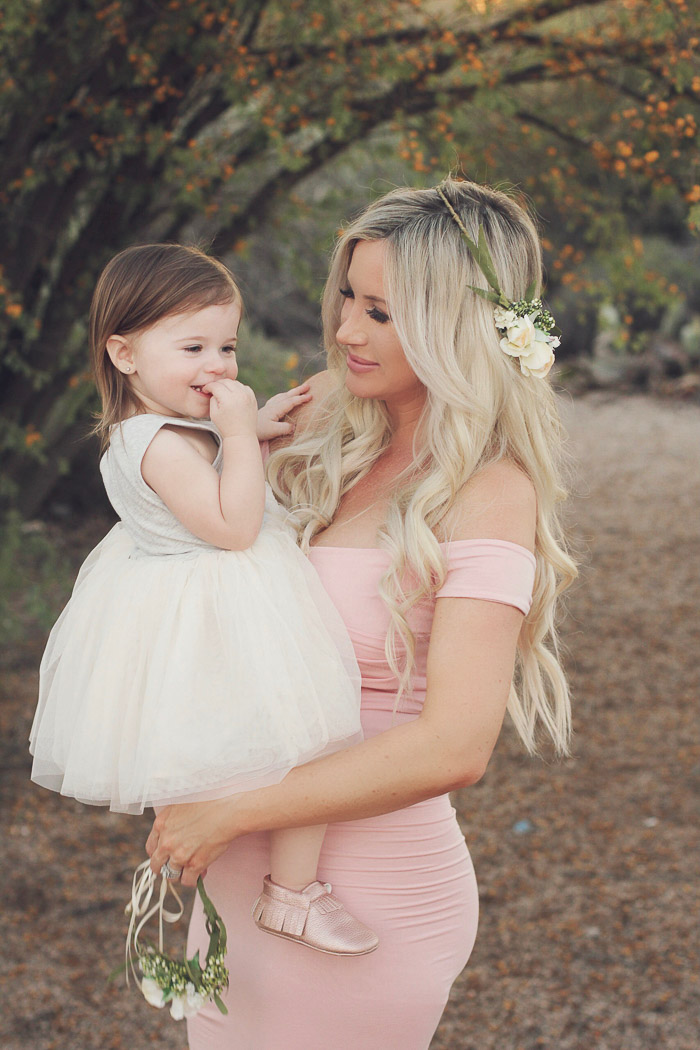 Live Love Blank 37 and 39 week Maternity Pregnancy Photos maternity shoot, sew trendy accessories floral crown mother daughter blush pink maternity dress, asos off the shoulder green maternity dress, family maternity shoot, 3rd trimester, pregnancy over 35, maternity outdoor photoshoot