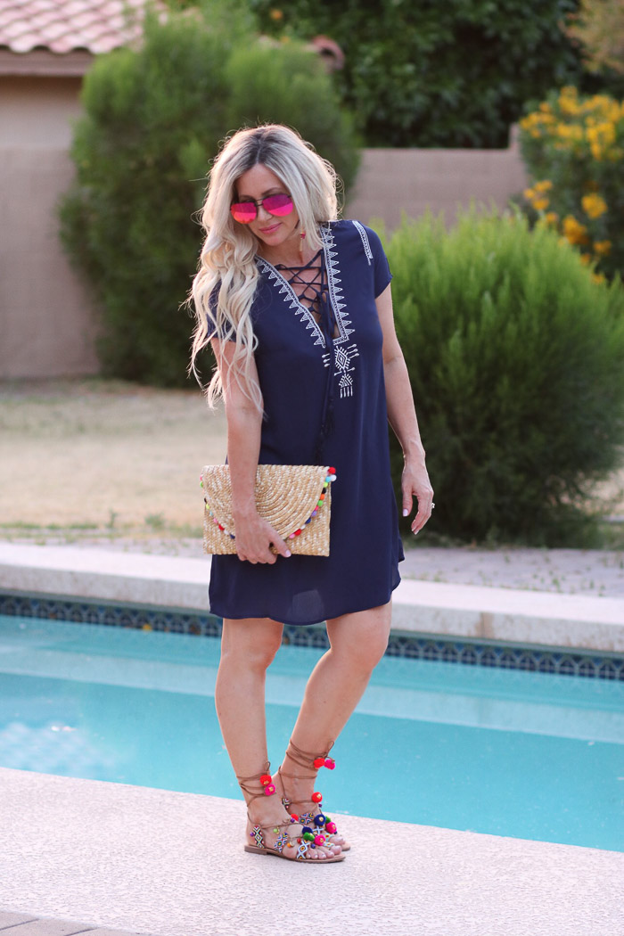 Live Love Blank Summer Style and The Year of the Pompoms and Tassels in Accessories SheIn Navy summer dress bathing suit cover up short swing mini dress blue chiffon, white embroidered lace up dress pompom straw bag clutch, pompom chinese laundry sandal, quay mirrored fuchsia purple sunnies express tassel earrings