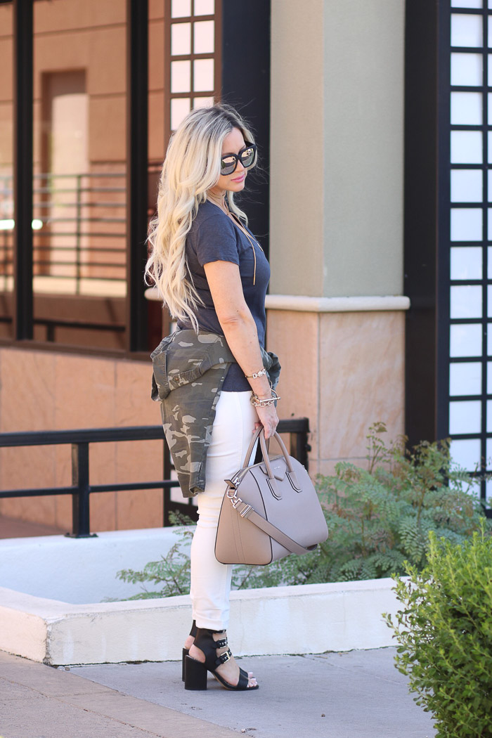 Live Love Blank White Jeans Basic Navy Tee, and Camo Camouflage tied around waist givenchy antigona medium handbag purse, black quay Australia sunglasses dolce vita rocker stud balck sandals chunky heel momiform everyday casual mom look, mom goals, easy go to fashion