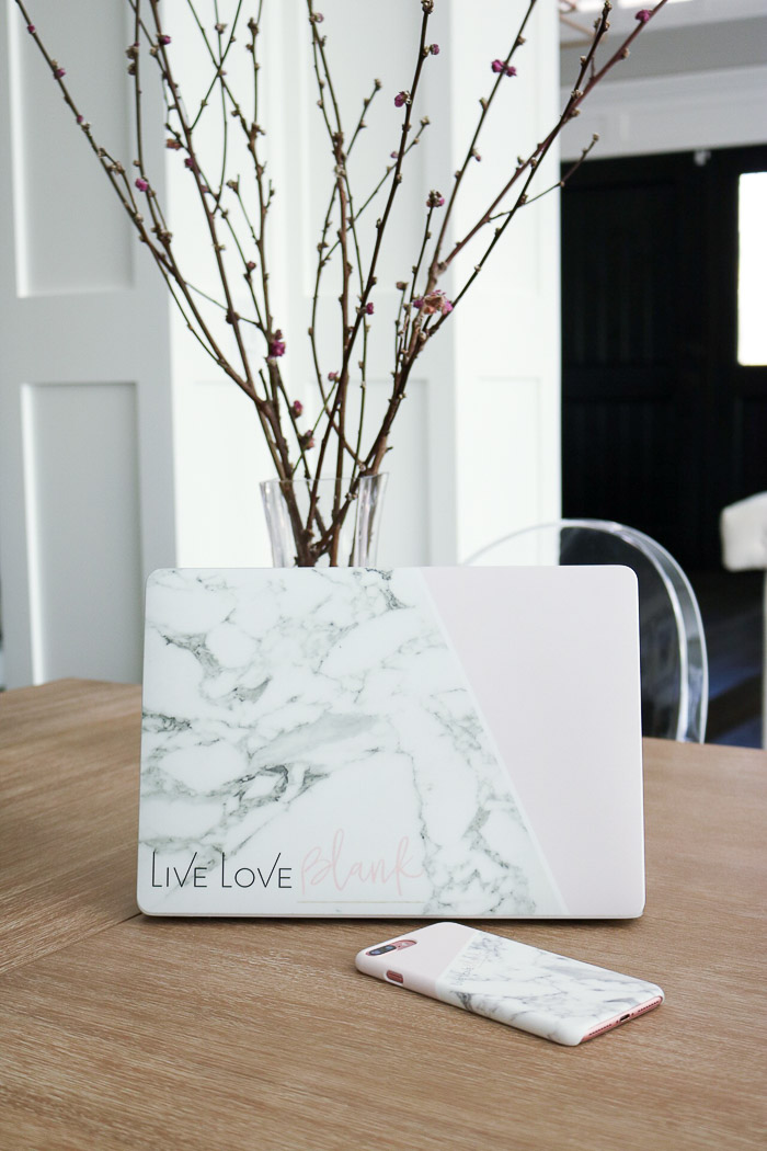 Live Love Blank Custom iPhone 7 Plus Phone Case Cover and Macbook Pro laptop skin custom marble and blush with branding logo business name CaseApp