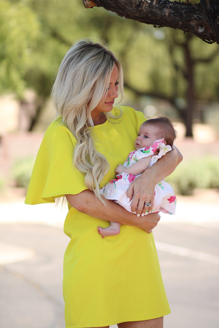 Live Love Blank These Sleeves The Perfect Neon Yellow Dress and Such a Bargain, Dramatic sleeve detail SheIn, BP Nordstrom Leopard Clutch and Marc Fisher Wedges...baby Gap floral dress