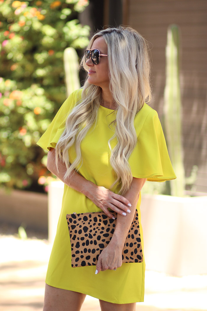 Live Love Blank These Sleeves The Perfect Neon Yellow Dress and Such a Bargain, Dramatic sleeve detail SheIn, BP Nordstrom Leopard Clutch and Marc Fisher Wedges, Quay Needing Fame Black Sunglasses Sunnies