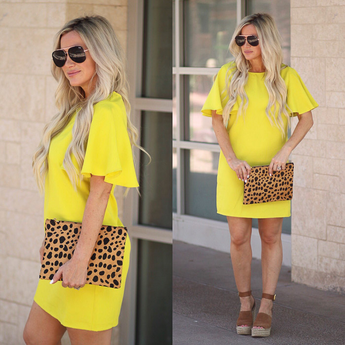Live Love Blank Instagram Favorites Round Up and Recap June 2017 SheIn Yellow neon flutter sleeve statement dress, nordstrom leopard clutch bag handbag purse, quay needing fame black sunnies, marc fisher wedges sandals