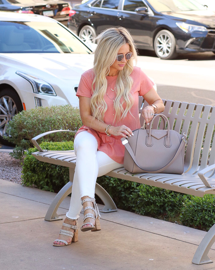 Live Love Blank Instagram Favorites Round Up and Recap June 2017 Nordstrom pink peach peplum top tee carlson white asos skinny jeans denim, givenchy medium antigonia handbag bag purse, express layered gold necklace, bp sunnies sunglasses Sam edelman beige tan shoes sandals with grommets