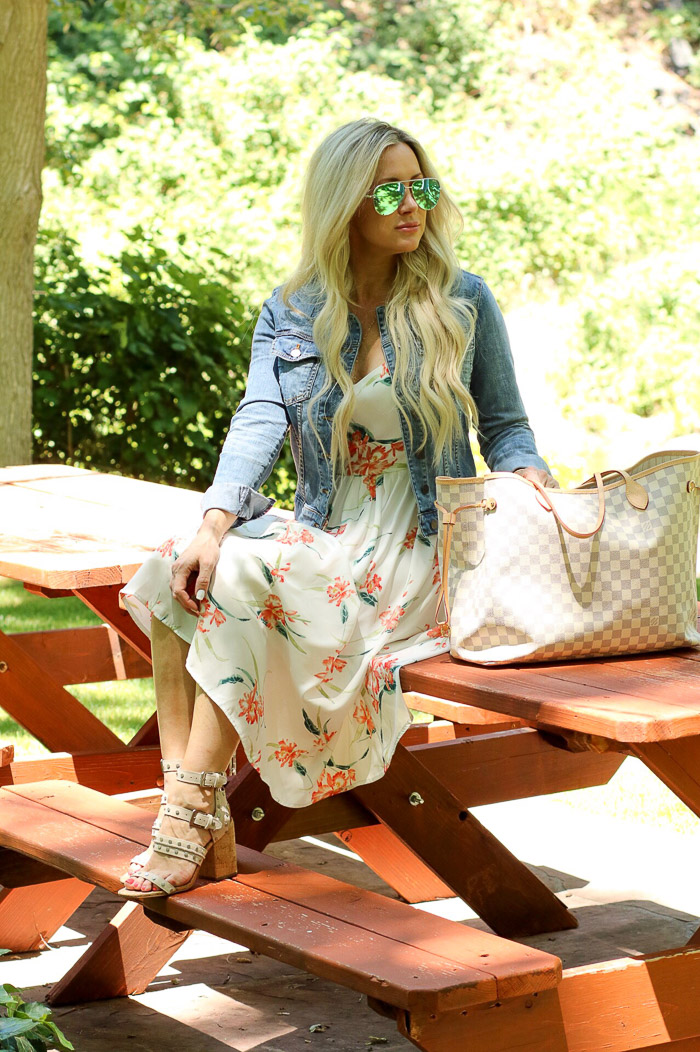 Live Love Blank Instagram Favorites Round Up and Recap June 2017 Kut from the cloth denim jean jacket fitted sam edelman shoes sandals beige grommets quay desi perkins australia sunglasses sunnies blue aviators, louis vuitton neverfull GM