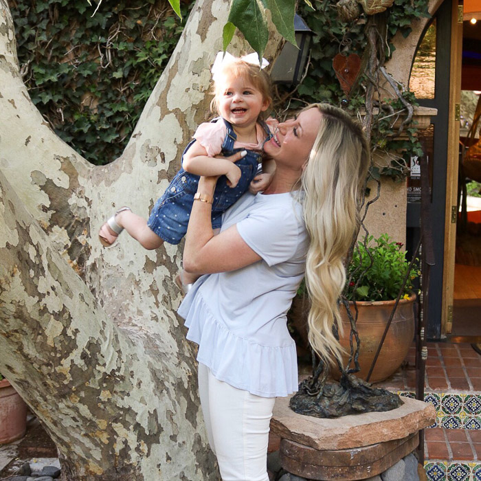 Live Love Blank Instagram Favorites Round Up and Recap June 2017 Nordstrom light blue peplum bp top, white skkiny denim jeans asos, gap baby kids overalls with hearts, old navy pink silver sandals toddler baby kids, sedona