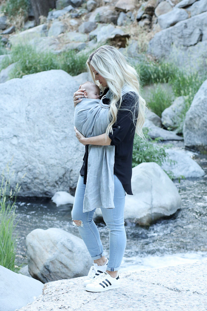 Live Love Blank Instagram Favorites Round Up and Recap June 2017 my wildbird baby sling baby carrier baby wearing grey carrier black lush top nordstrom, sedona arizona, creekside, adidas superstar tennis shoes sneakers, asos skinny light blue denim jeans