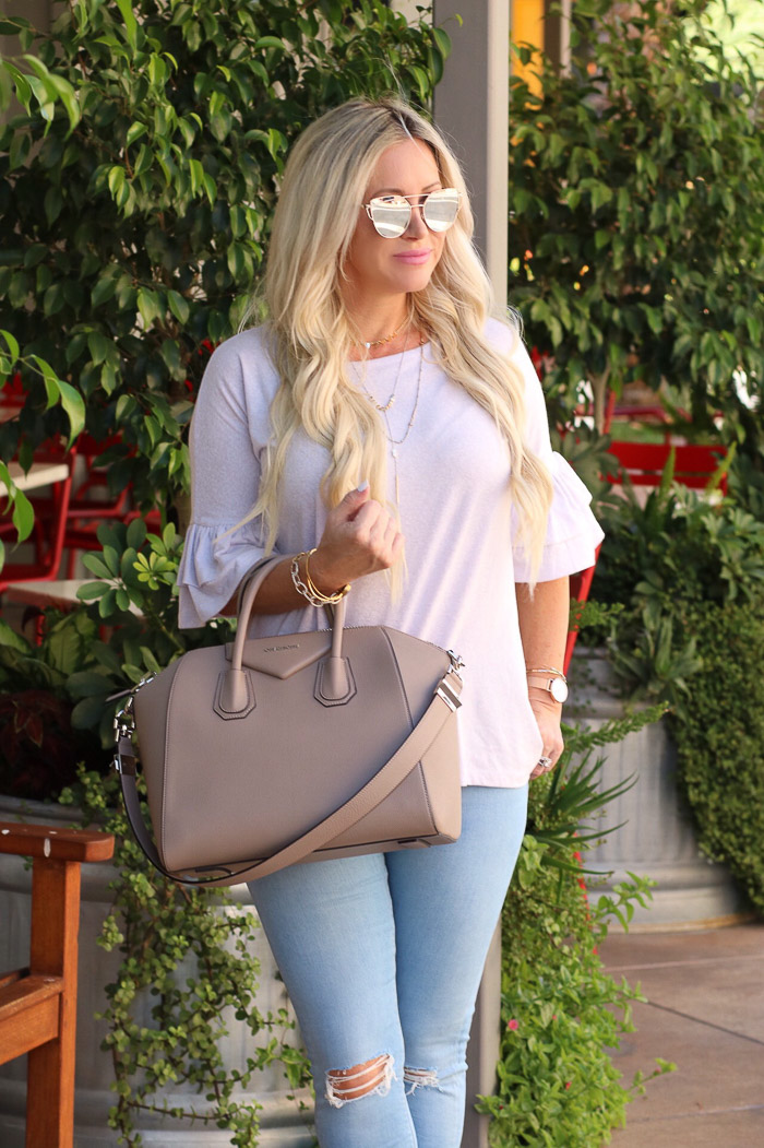 Live Love Blank Instagram Favorites Round Up and Recap June 2017 givenchy antigonia medium taupe bag handbag, ruffle sleeve top nordstrom, light blue asos skinny jenas denim, layered express gold necklaces Bp sunglasses sunnies