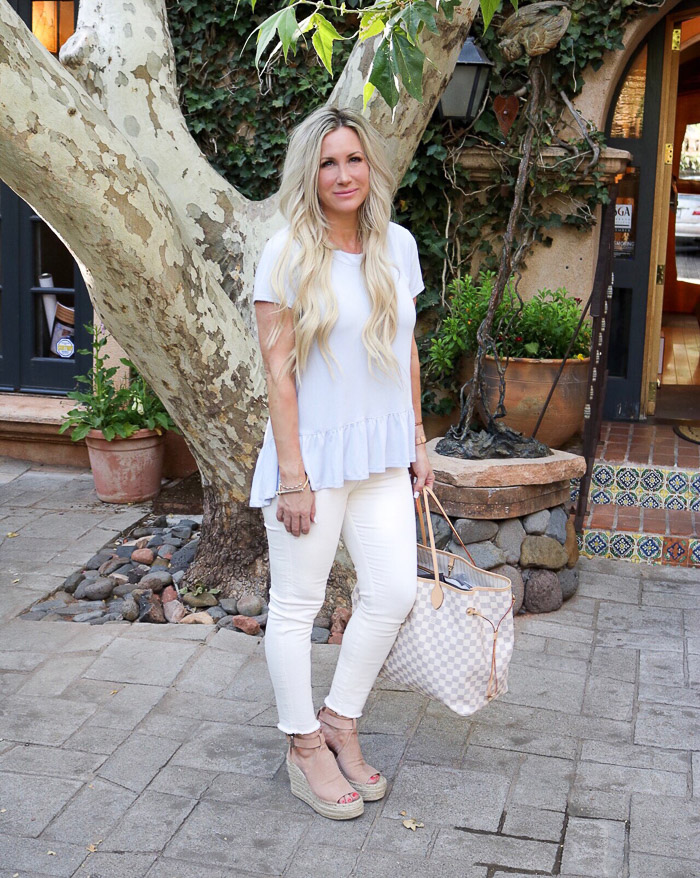 Live Love Blank Instagram Favorites Round Up and Recap June 2017 Bp peplum light blue top tee nordstrom, asos skinny jeans denim marc fisher wedges annie, miansai bracelet, louis vuitton neverfull GM sedona mom life,