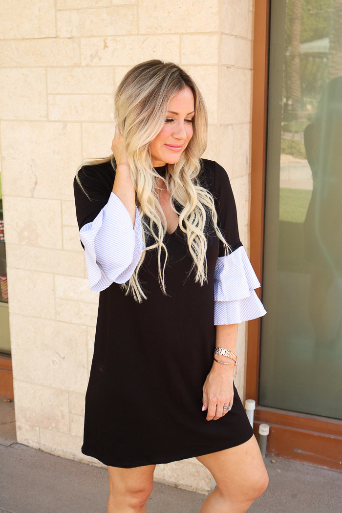 Live Love Blank The Perfect Everyday Dress with Striped Poplin Ruffled Sleeves For Under $50