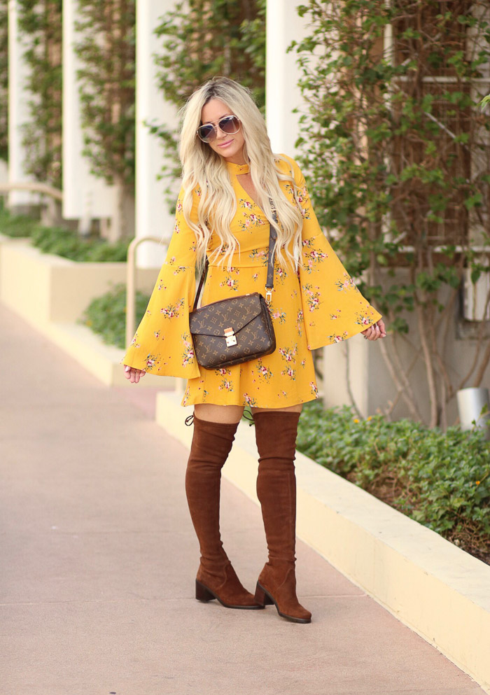 Live Love Blank Fall Style, Yellow Floral Dress and Over The Knee Stuart Weitzman Boots