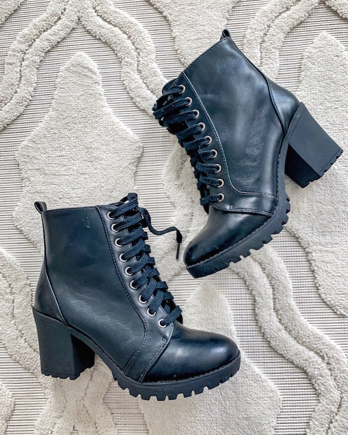 Walmart Fall Fashion Favorites featured by top US fashion blog, Live Love Blank: image of Time and Tru moto boots