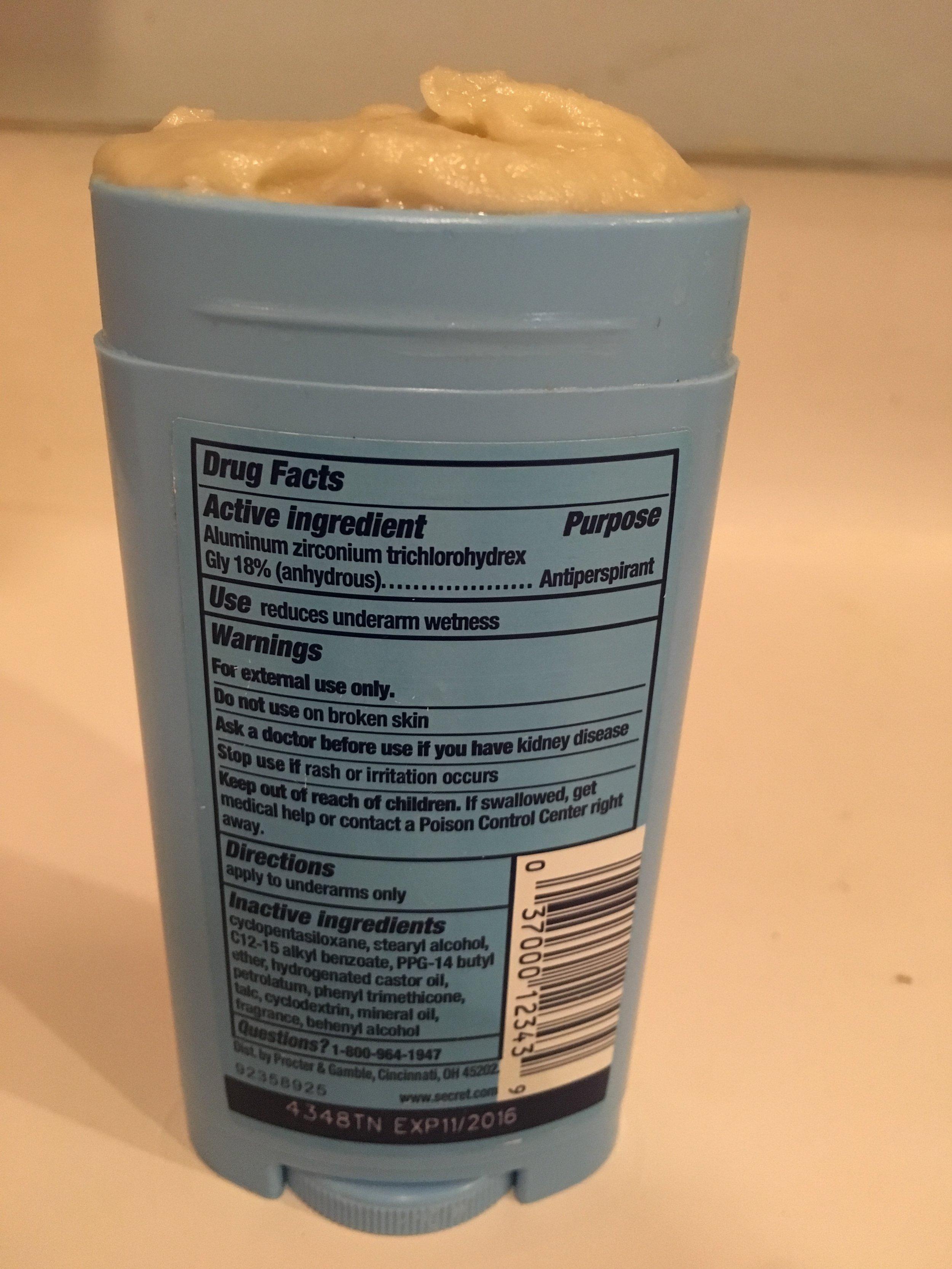 Secret Invisible Solid deodorant ingredients
