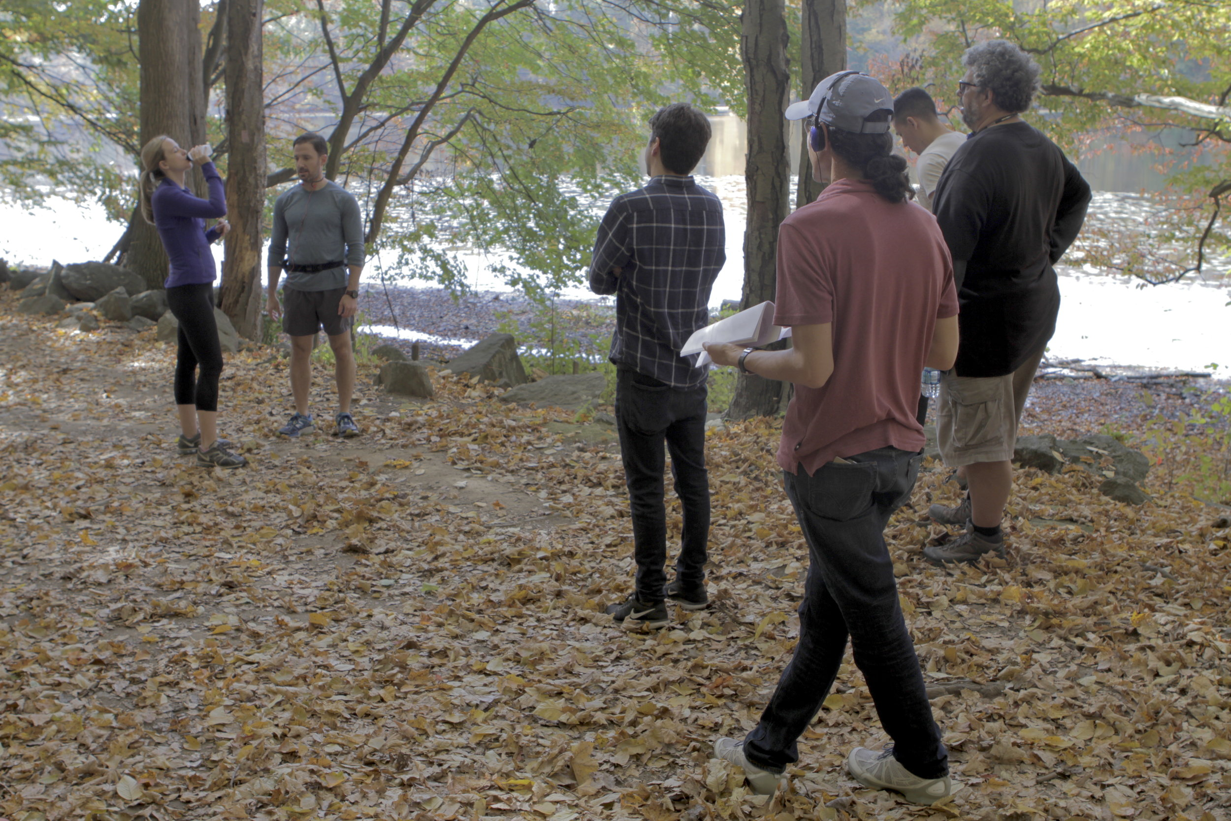 Actors rehearse while Neil LaBute and Alexander Sablow determine the shot.