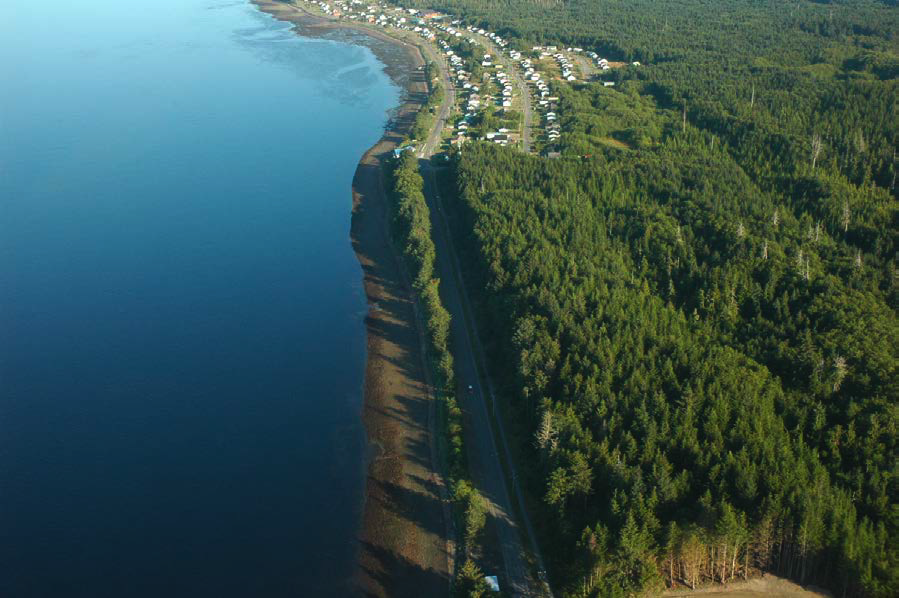 Parcel 'C' is the forested land in the foreground above. Old Massett is at the top