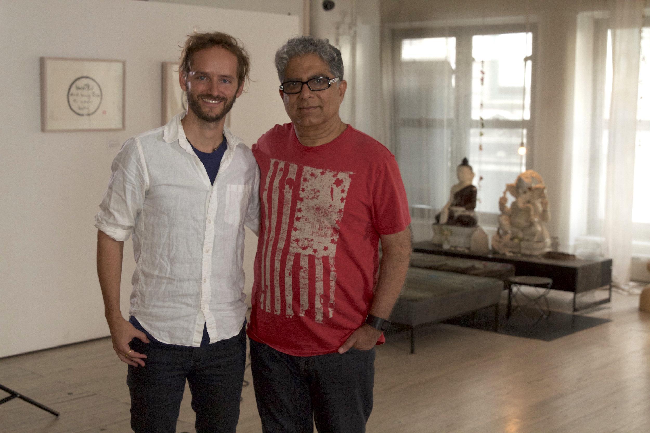 Deepak Chopra and Jeremy Frindel after interviewing Deepak for the film.