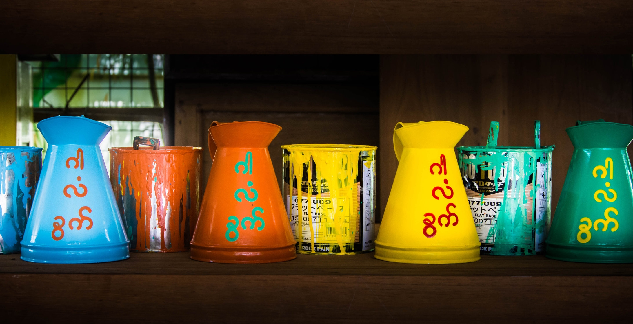 Beautiful Jugs at Pomelo for Myanmar, Yangon. Fair trade crafts shop.