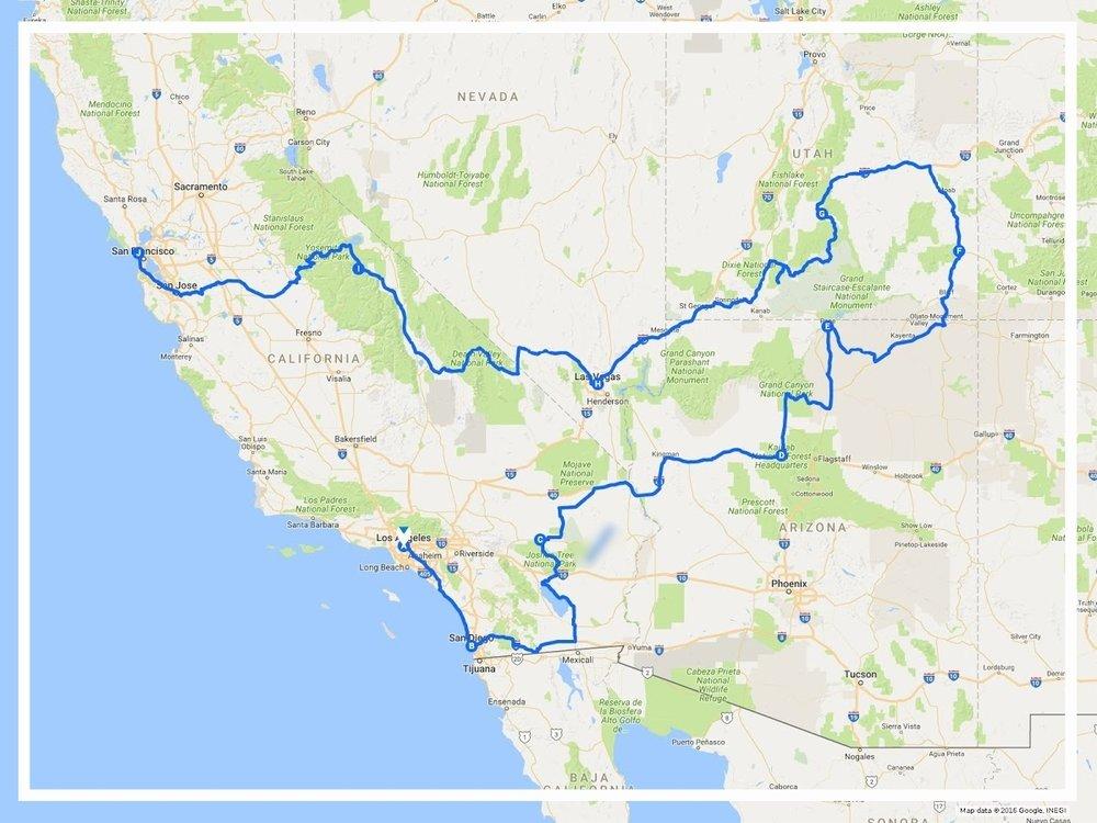 Parchi Usa Cartina.Itinerario Tour On The Road Di 15 Giorni Nel Sud Ovest Degli Usa