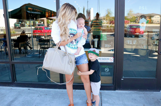 sweatshirt  / shorts - similar  here  and  here  / shoes old but  LOVE these ones ! /  diaper bag     hat  /  tee  / shorts-  similar here      swaddle  /  teether - our absolute favorite! /  sunless tanner