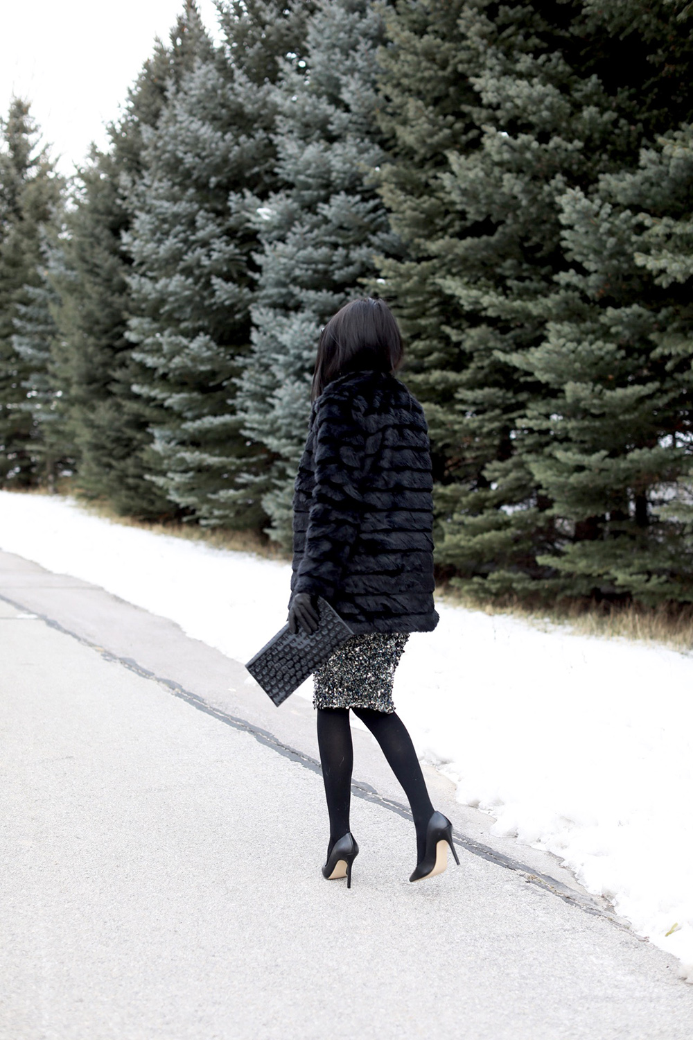 Turtleneck:  Neiman Marcus  | Skirt:  Haute Hippie  | Coat:  John & Jenn  | Tights:  Neiman Marcus  | Pumps: Neiman Marcus  | Clutch:  St. John  | Watch:  Burberry  | Cuff:  Panacea  | Sunglasses: Karen Walker (similar style  here ) | Gloves: old, similar style  here  (all ℅ Last Call