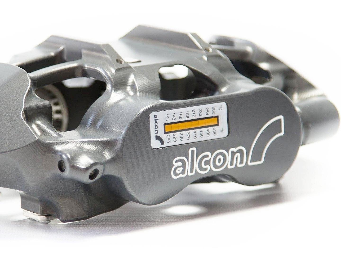 Alcon rally caliper with caliper temperature indicator stickers on the caliper face.Photo Courtesy: Alcon Brakes