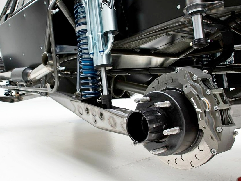 Alcon off-road truck brake package with temperature stickers placed on the caliper piston bores.Photo Courtesy: Alcon Brakes